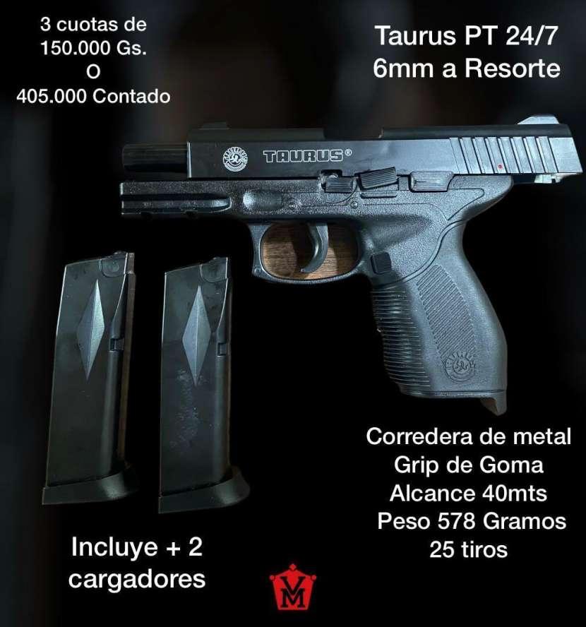 Pistola airsoft Taurus PT 24/7 6mm a resorte - 0