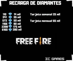 Recarga de diamantes Free Fire y para otros juegos digitales vía ID