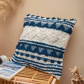 Cojín decorativo bordado en azul y blanco 45x45cm