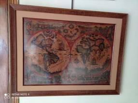 Mapamundi Siglo 18 en cuero repujado