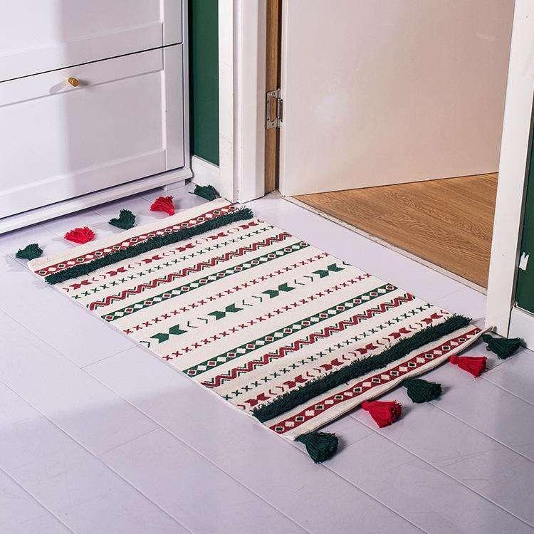 Alfombra borla navideña hilo algodón 93x61cm - 0
