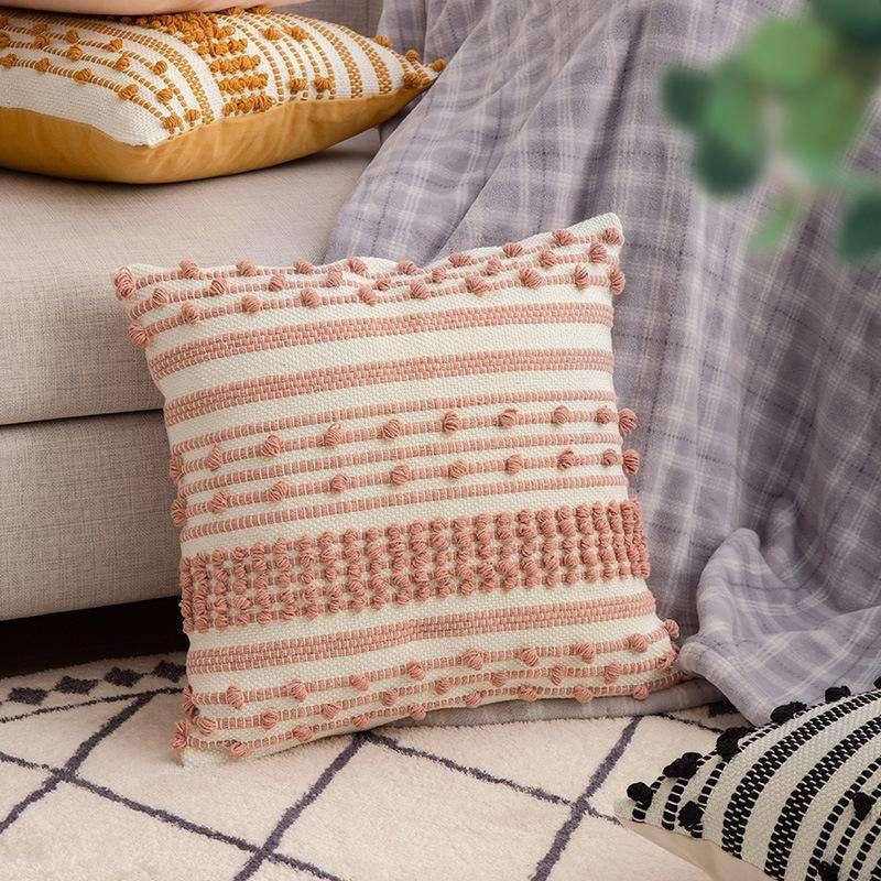 Cojín decorativo bordado blanco y rosa 45x45cm - 0