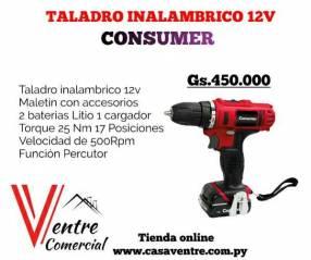 Taladro inalámbrico Percutor 12V Consumer