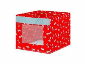 Caja roja con motivos 38x42x33cm 2279