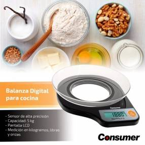 Balanza digital para cocina con bol 5kg consumer