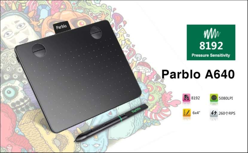 "Tablet gráfica Parblo A640 6x4"" pizarra digital - 1"