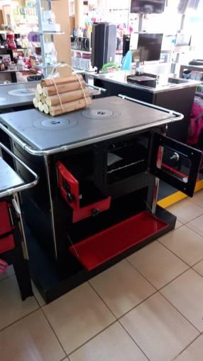 Cocina a leña rojo negro hidro supreme box nug