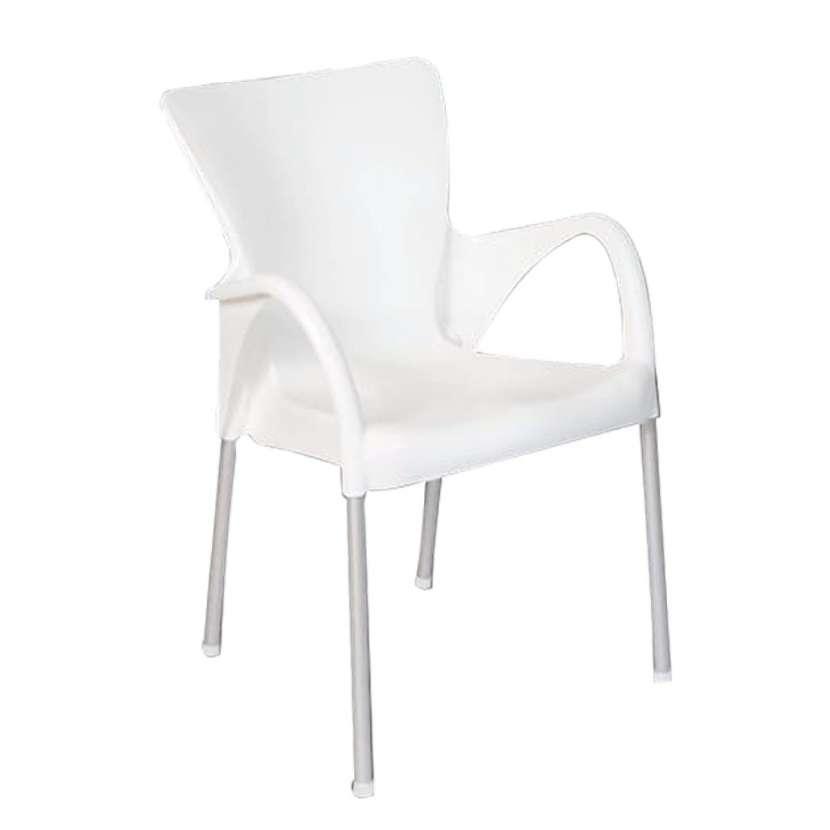 Silla fija setu c/ posa brazo plastico blanco (3440) - 0