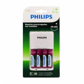 Cargador de pila philips c/ 4 pilas aa scb2445nb