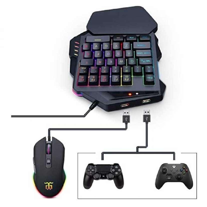 Teclado mecanico rgb gaming 3en 1 c/mouse y mouse pad - 0