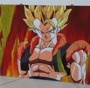 Cuadro de Goku sobre madera