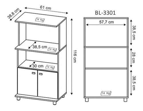 Balcón para horno y microondas bl3301 blanco - 1