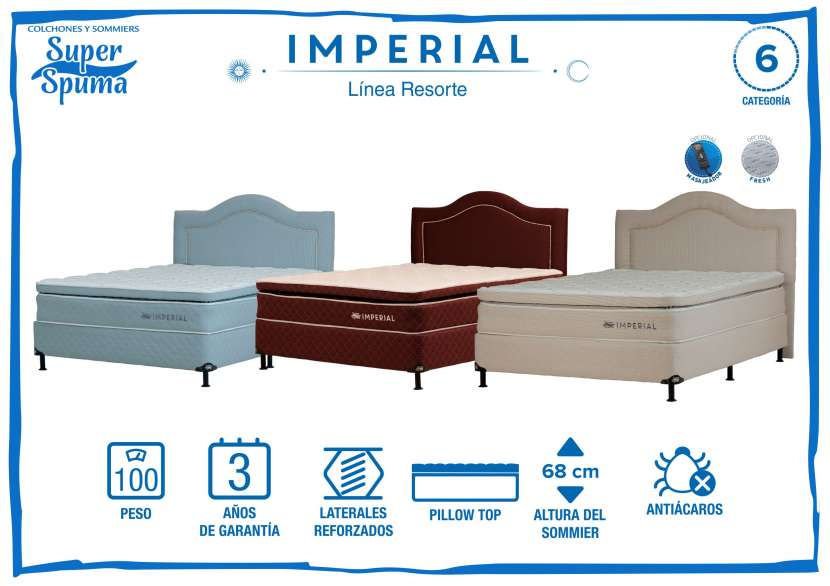 Somier imperial 1,80 x 2,00 soporta 100k super spuma - 0