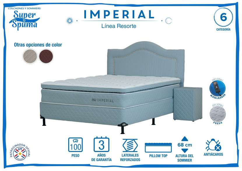 Somier imperial 2,00 x 2,00 soporta 100k super spuma - 1
