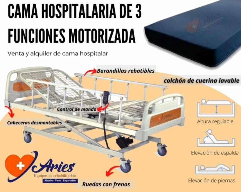 Cama hospitalaria de 3 funciones motorizada - 0