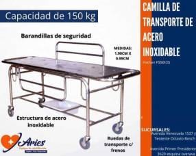 Camilla de transporte con soporte lateral de acero inoxidable