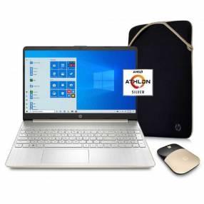 Nb hp 15-ef1072wm athlon n3050 4gb/128ssd/15.6'' +mouse y estuche gold