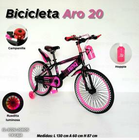Bicicleta aro 20 con rueditas luminosas