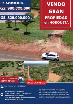 Propiedad de 45 hectáreas Paso Mbutu Horqueta