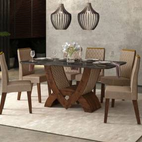 Conjunto comedor veneza 6 sillas new maia dj rústico malbec|vidrio negro|rústico malbec|pecan (30487)
