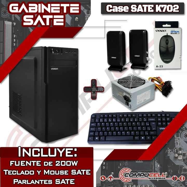 Combo gabinete Sate K761 con teclado mouse parlante y fuente - 0