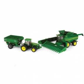 Set de cosechadora tractor y carreta John Deere 3 en 1