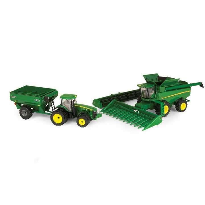 Set de cosechadora tractor y carreta Jhon Deere 3 en 1 - 0