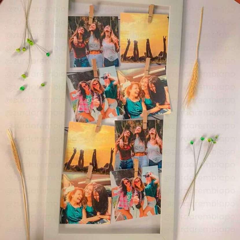 Cuadro vintage con 8 fotos de 10x10 cm personalizado - 2