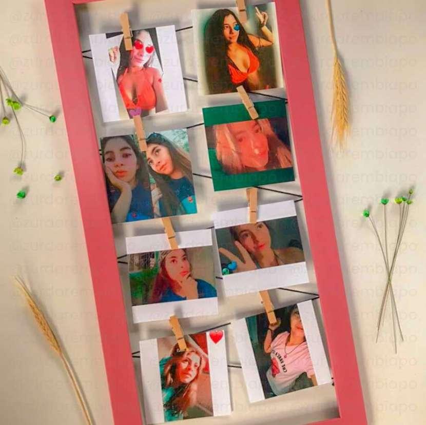 Cuadro vintage con 8 fotos de 10x10 cm personalizado - 0