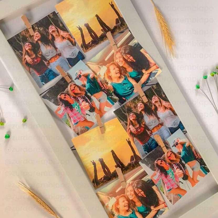 Cuadro vintage con 8 fotos de 10x10 cm personalizado - 1