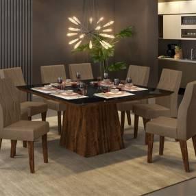 Conjunto italia 8 sillas new agata rustico dj malbec|vidrio negro|rustico malbec|pecan (30494)
