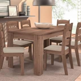 Conjunto comedor grecia con 6 sillas monique celta almendra (30499)