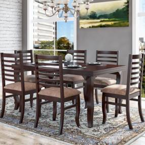 Conjunto comedor anturio 6 sillas acacia salmar imbuia (30498)