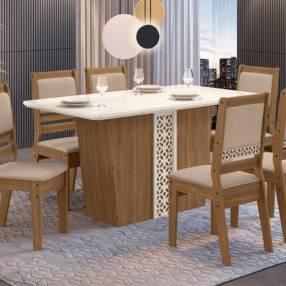 Conjunto comedor lotus 6 sillas cedro gold|51c celta (30495)