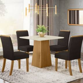 Conjunto comedor dora 4 sillas vega henn nature|off white|marron (30497)