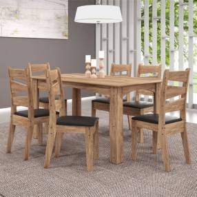 Conjunto comedor monique 6 sillas isis celta avellana | negro (30500)