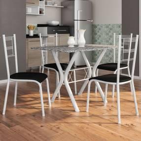 Conjunto miami 4 sillas santiago fabone blanco craquelado|negro