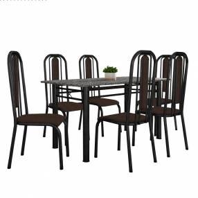 Conjunto granada 6 sillas fabone negro craquelado|café texturado
