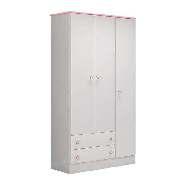 Ropero 3 puertas 2617 qmovi blanco|rosa - 2