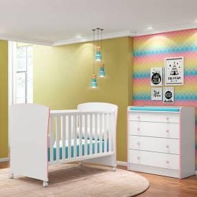 Cuna mini-cama 2484 qmovi blanco|rosa