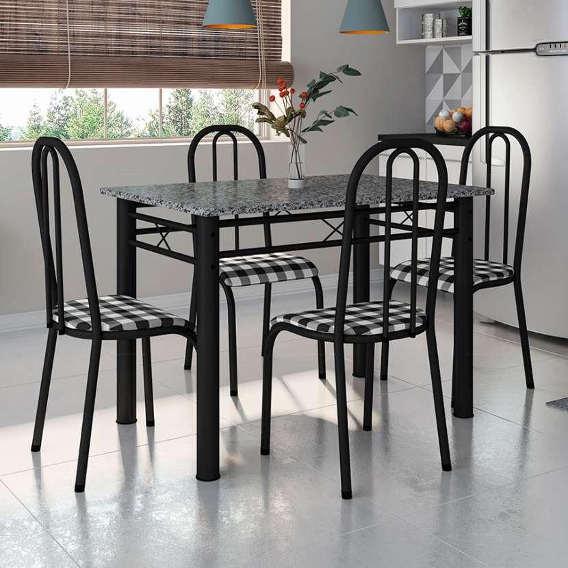 Conjunto genova 4 sillas madri fabone negro craquelado|xadrez - 0