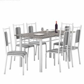 Conjunto lisboa 6 sillas california fabone blanco craquelado|negro listrado