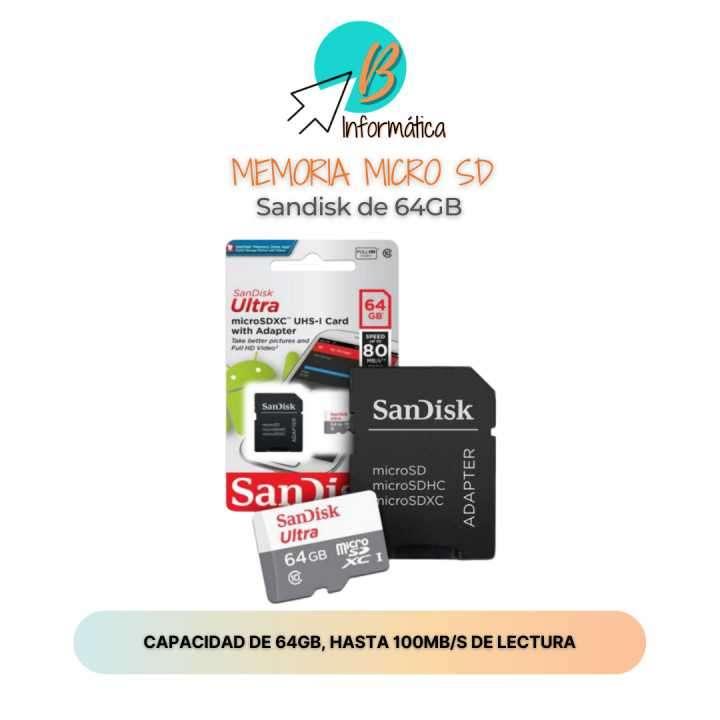 Memoria Micro SD Sandisk 64GB - 0