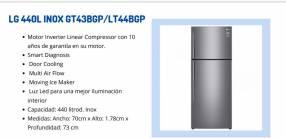 Heladera LG 440L de 2 puertas LT44BG