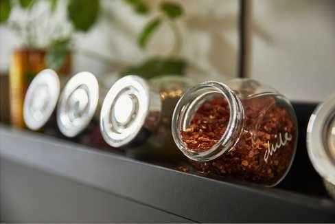Frasco para especias, vidrio, color aluminio, 4 unidades 2280 - 3