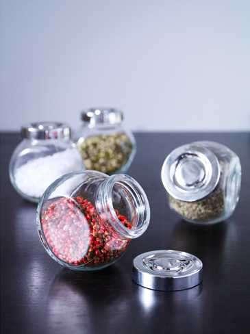 Frasco para especias, vidrio, color aluminio, 4 unidades 2280 - 1