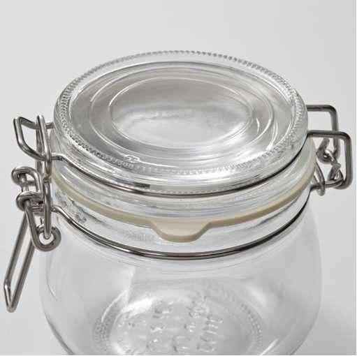 Frasco con tapa de vidrio incoloro 3 unidades diámetro 7cm 2281 - 1