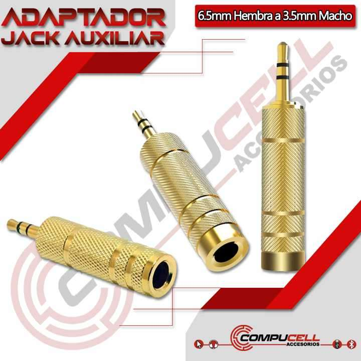 Adaptador Auxiliar 6.5mm a 3.5mm - Convertidor Auxiliar 3.5m - 0