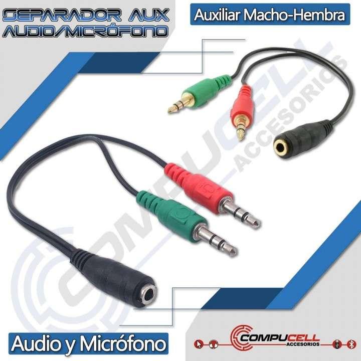 Separador de audio y micrófono - splitter auxiliar - 0
