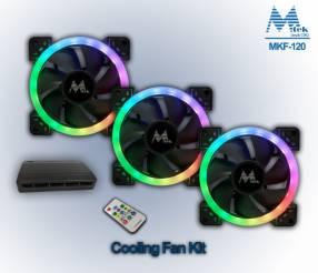 Kit Fan p/ PC gamer con iluminación RGBW a control remoto